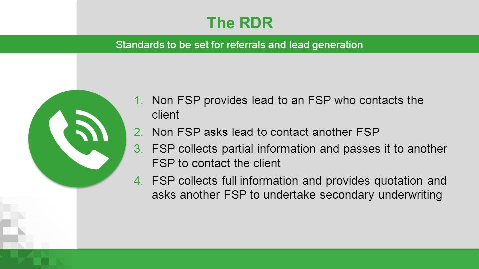 Standards to be set for referrals and lead generation