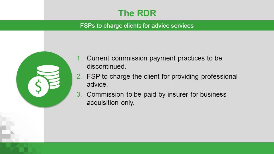 FSPs to charge clients for advice services
