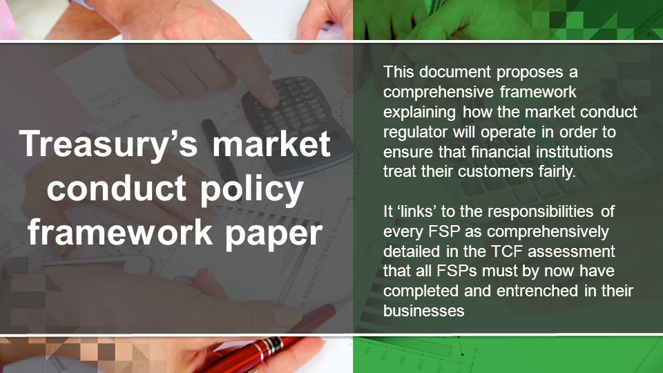 Treasury's market conduct policy framework paper