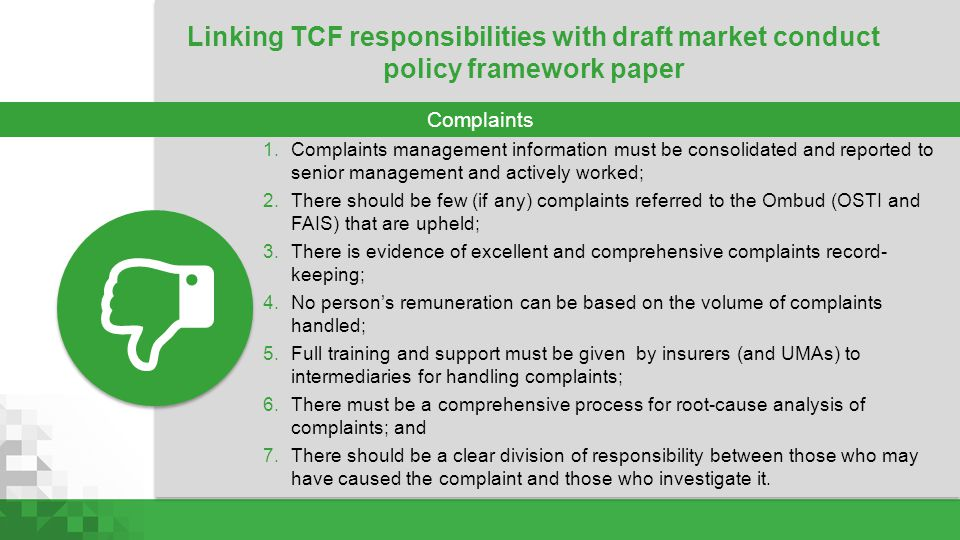 Linking TCF responsibilities with draft market conduct policy framework paper