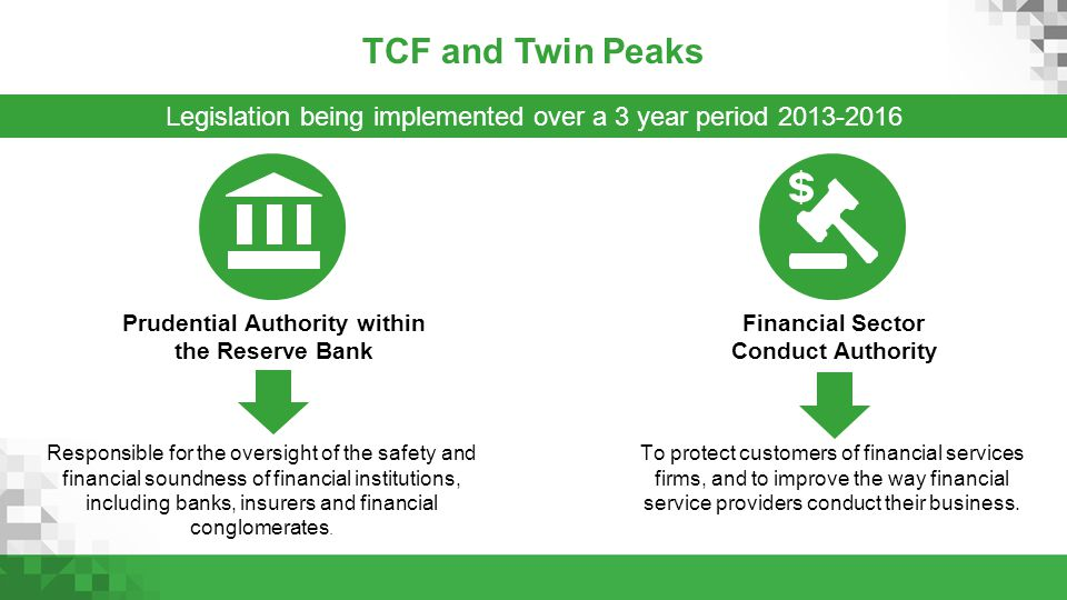 TCF and Twin Peaks Legislation being implemented over a 3 year period 2013-2016.