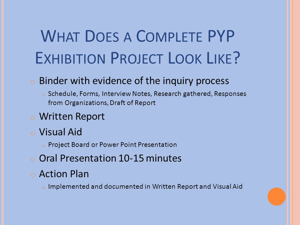What Does a Complete PYP Exhibition Project Look Like