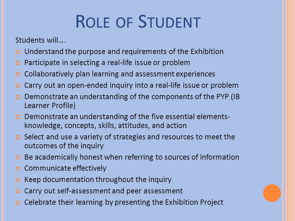 Role of Student Students will….
