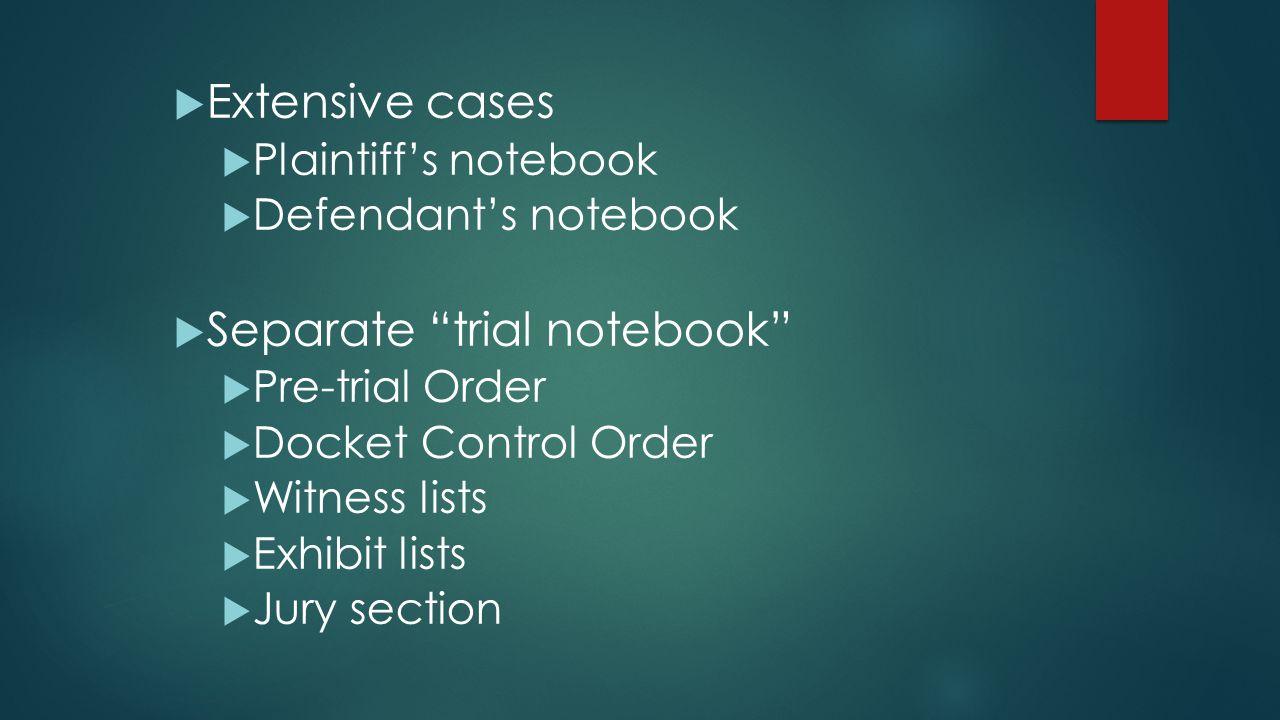 Separate trial notebook