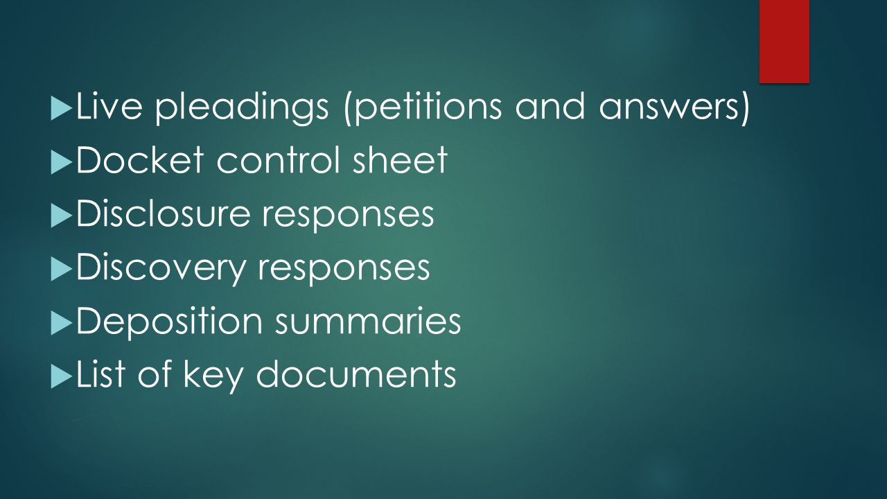 Live pleadings (petitions and answers)