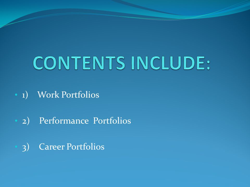 1) Work Portfolios 2) Performance Portfolios 3) Career Portfolios
