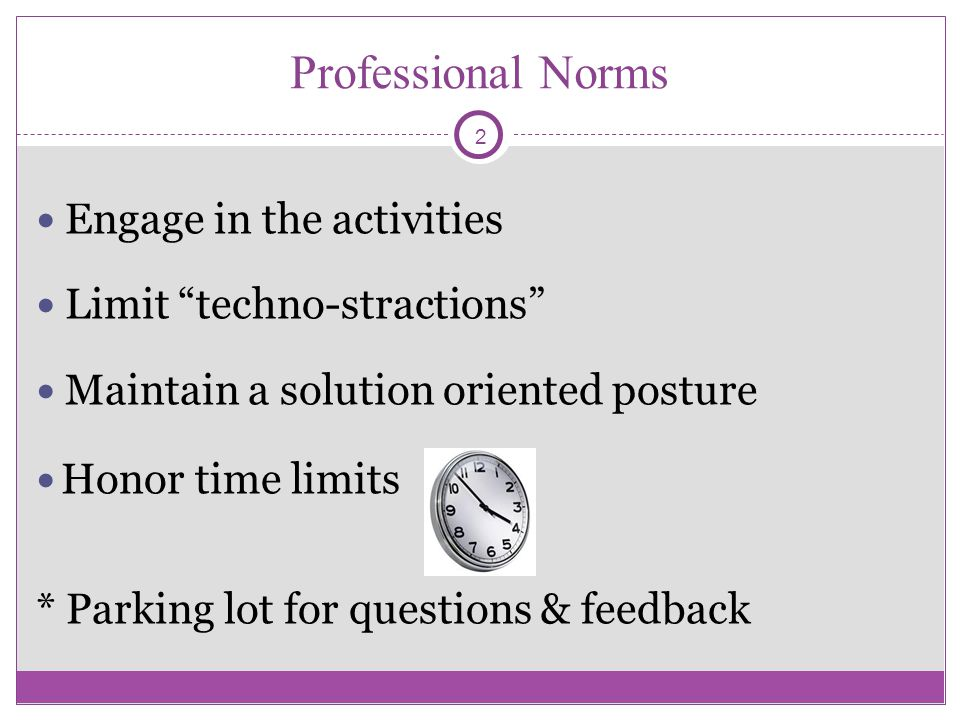 Professional Norms Engage in the activities Limit techno-stractions