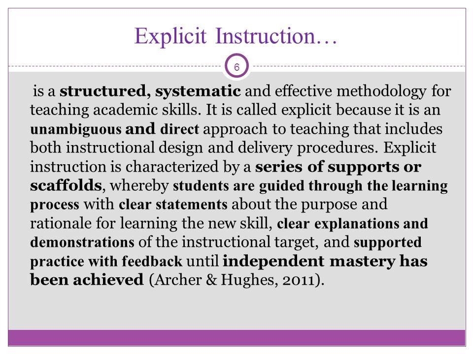 Explicit Instruction…