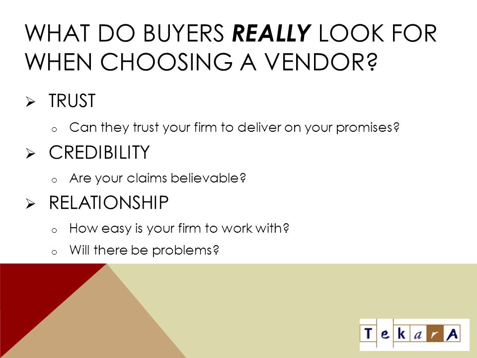 What Do Buyers Really Look For When Choosing A Vendor