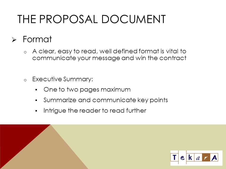 The Proposal Document Format