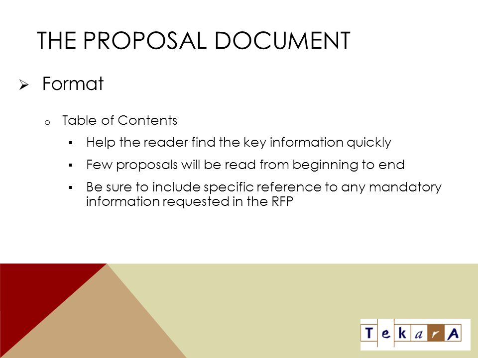 The Proposal Document Format Table of Contents