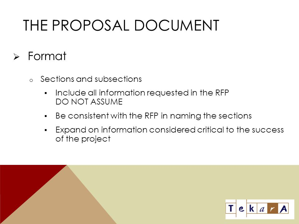 The Proposal Document Format Sections and subsections