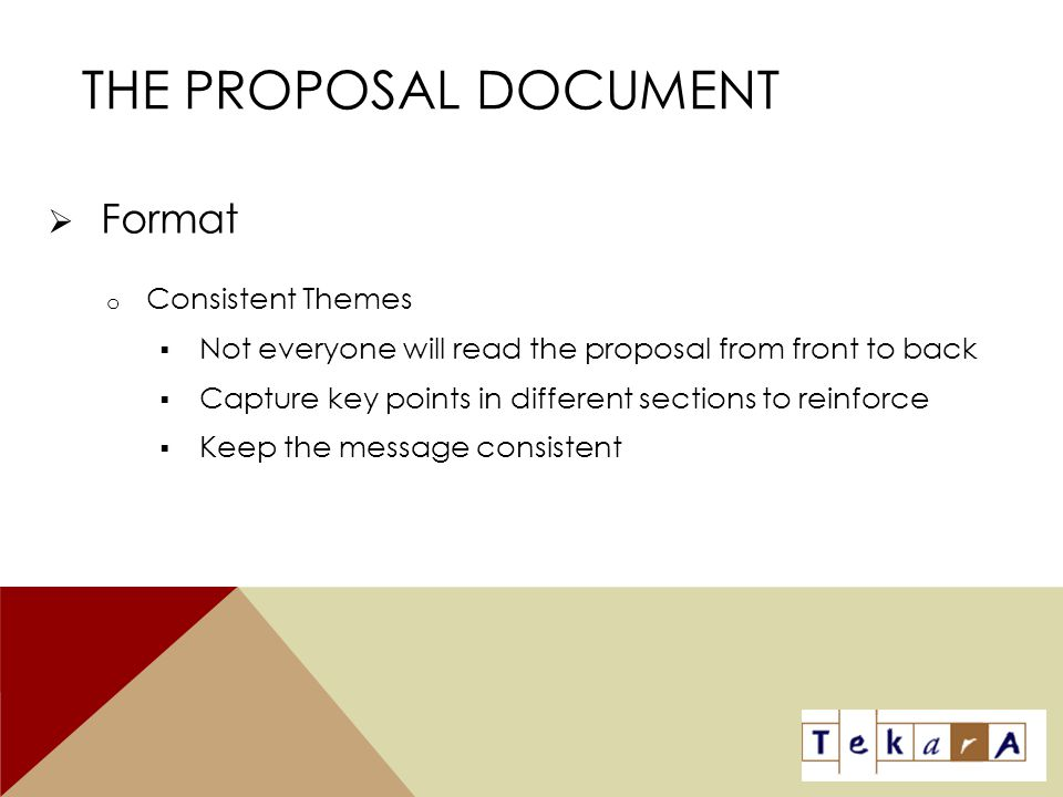 The Proposal Document Format Consistent Themes