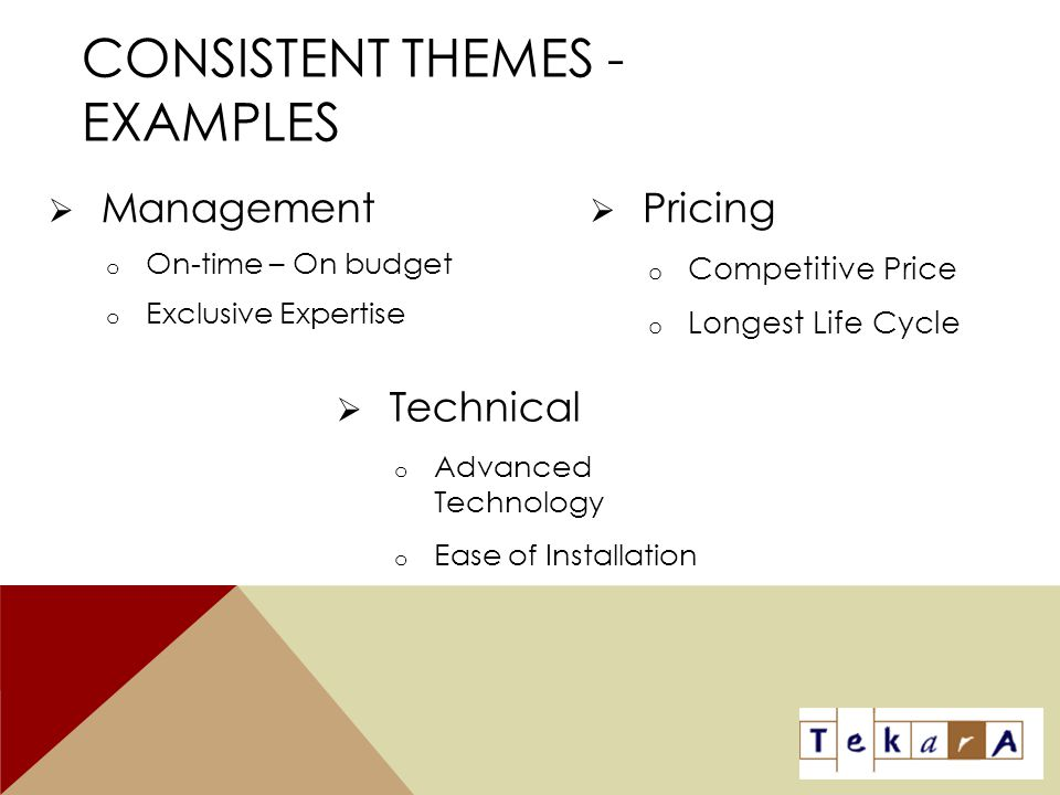 Consistent Themes - examples