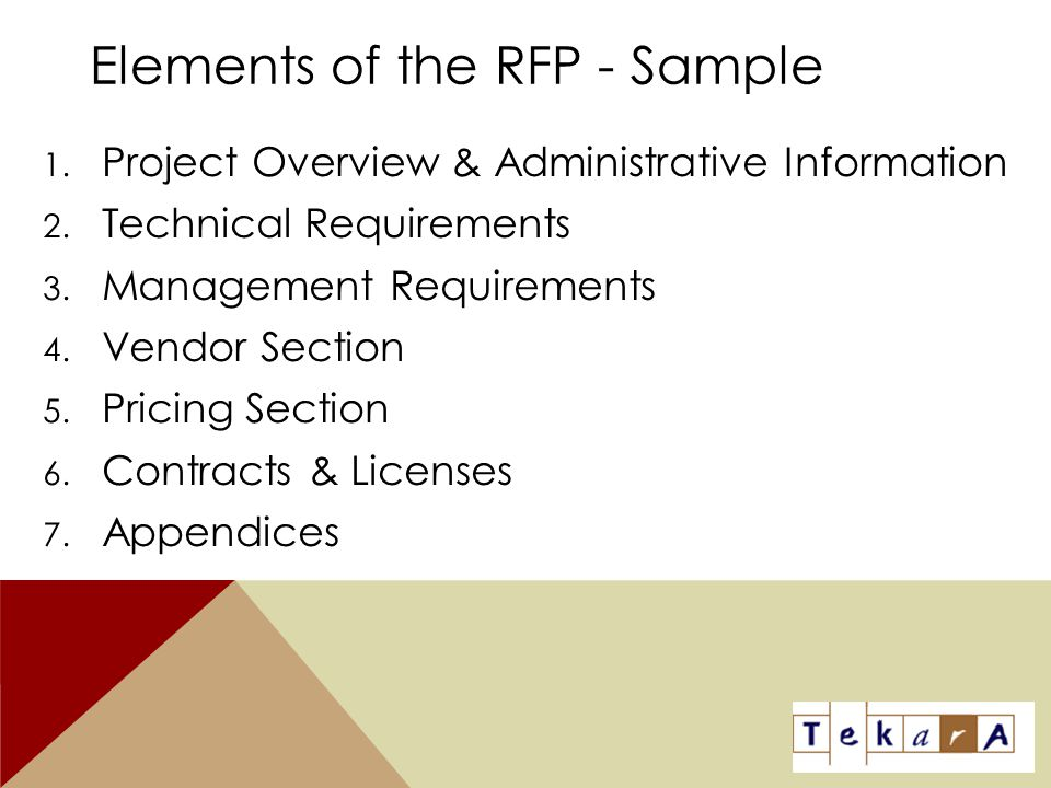 Elements of the RFP - Sample