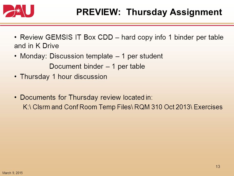 PREVIEW: Thursday IT BOX review responsibilities