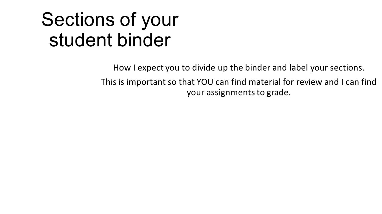 Sections of your student binder