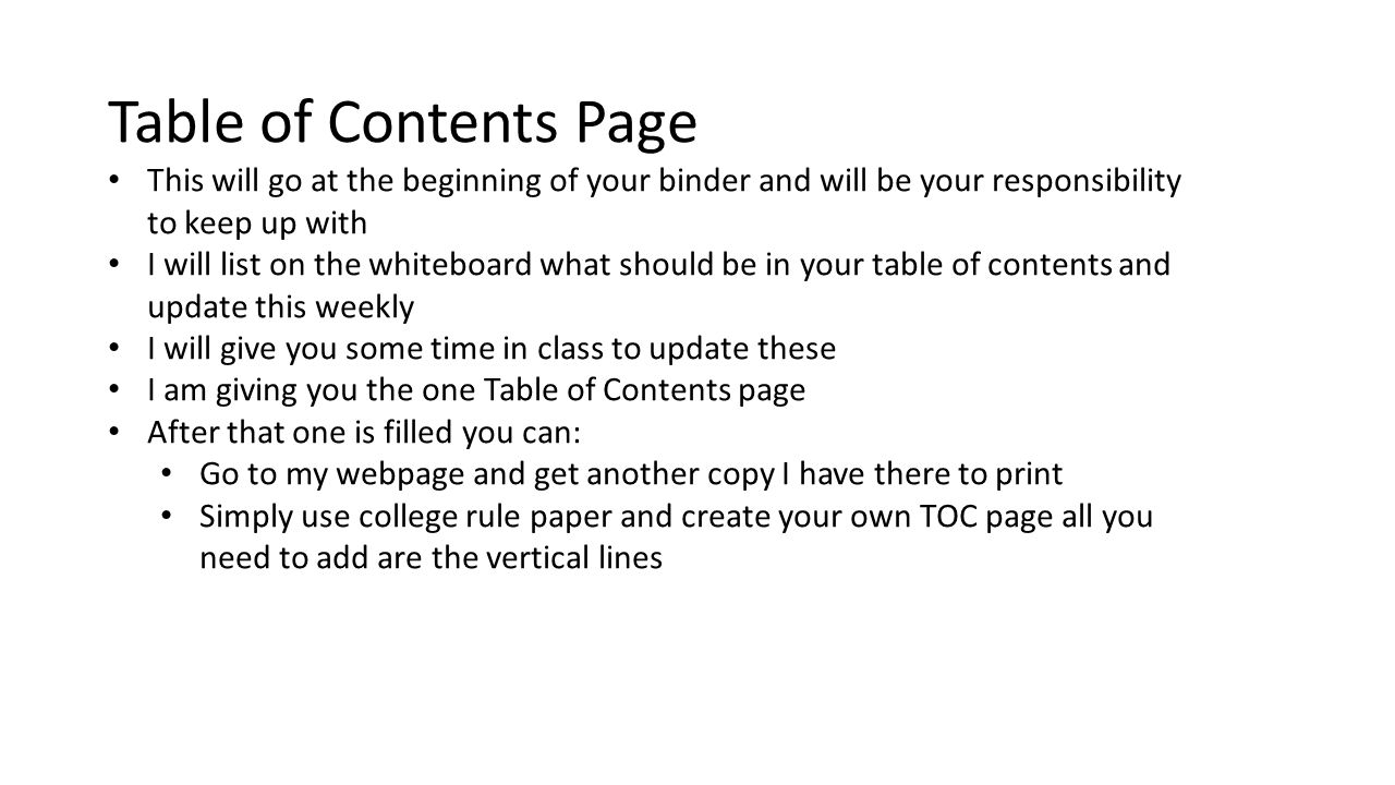 Table of Contents Page This will go at the beginning of your binder and will be your responsibility to keep up with.