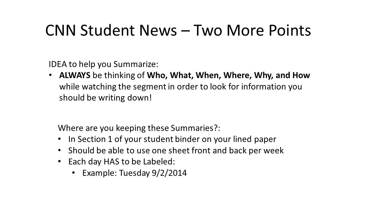 CNN Student News – Two More Points