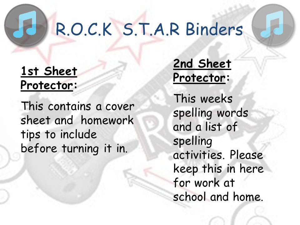 R.O.C.K S.T.A.R Binders 2nd Sheet Protector: 1st Sheet Protector: