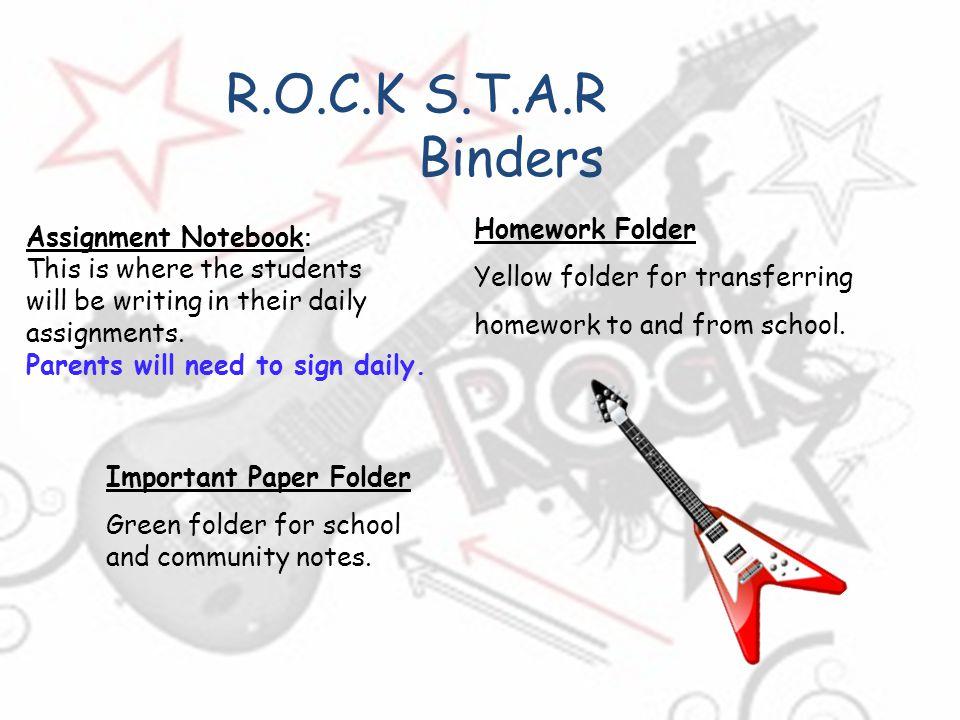 R.O.C.K S.T.A.R Binders Homework Folder Yellow folder for transferring
