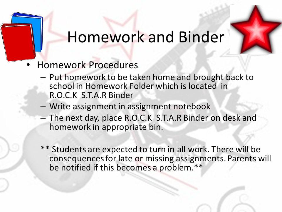 Homework and Binder Homework Procedures