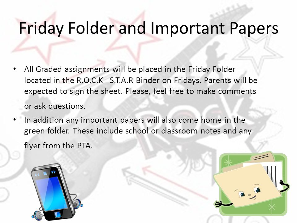 Friday Folder and Important Papers