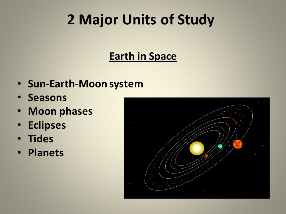 2 Major Units of Study Earth in Space Sun-Earth-Moon system Seasons