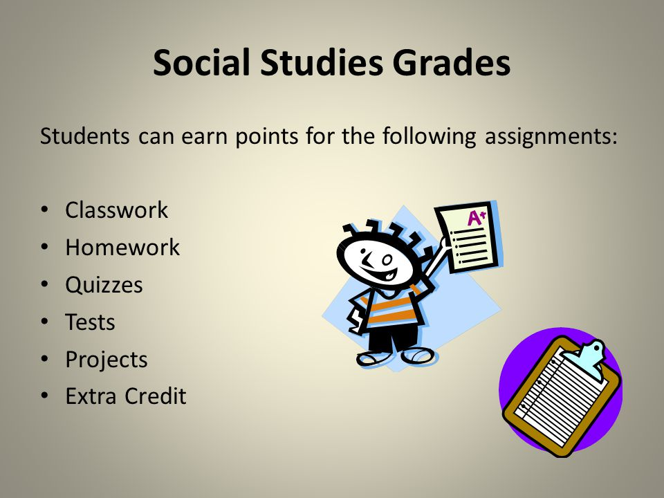 Social Studies Grades Students can earn points for the following assignments: Classwork. Homework.