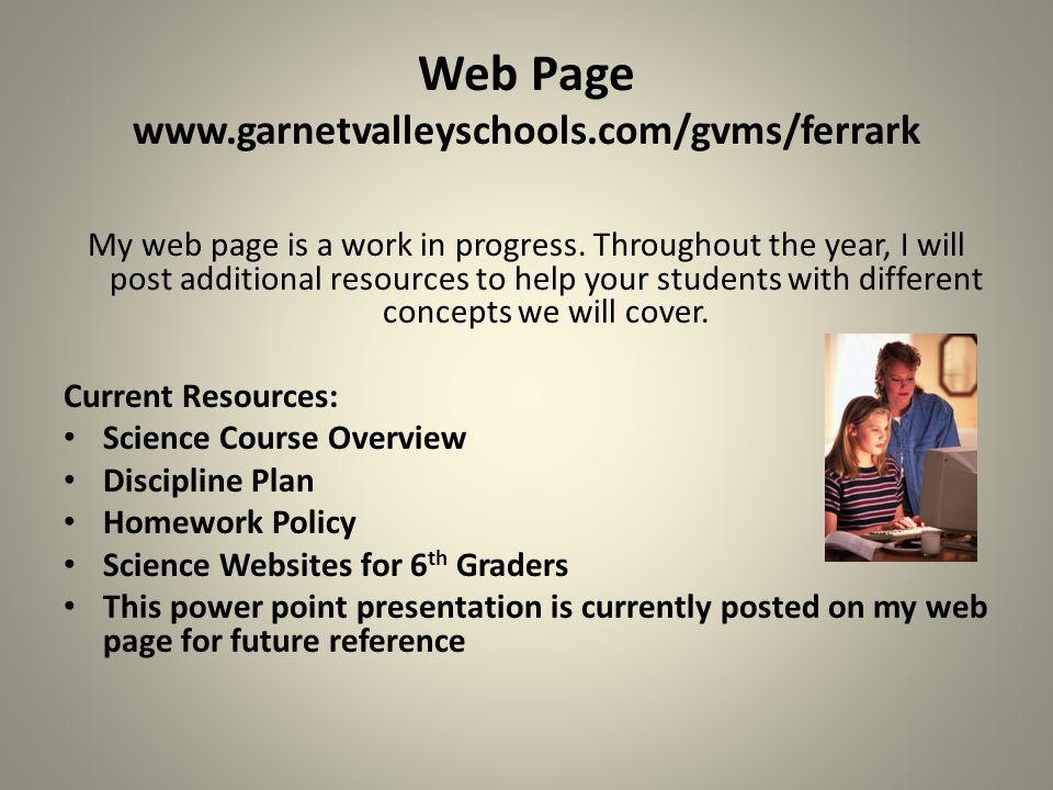 Web Page www.garnetvalleyschools.com/gvms/ferrark