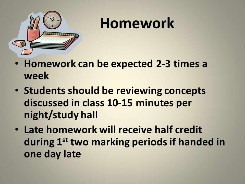 Homework Homework can be expected 2-3 times a week