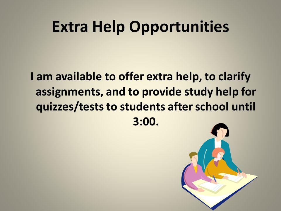 Extra Help Opportunities