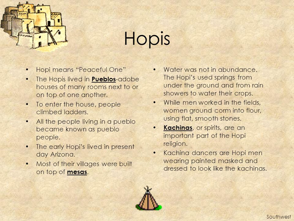 Hopis Hopi means Peaceful One