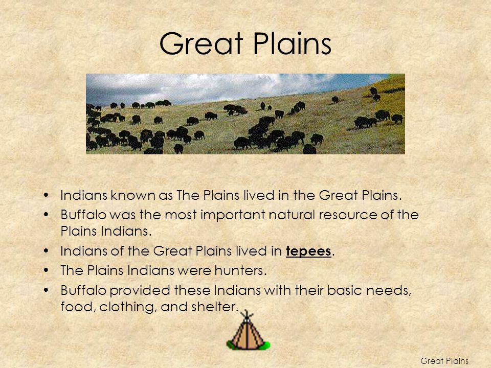 Great Plains Indians known as The Plains lived in the Great Plains.