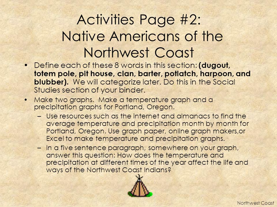 Activities Page #2: Native Americans of the Northwest Coast