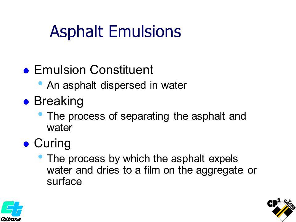 Asphalt Emulsions Emulsion Constituent Breaking Curing