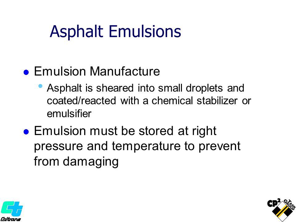 Asphalt Emulsions Emulsion Manufacture