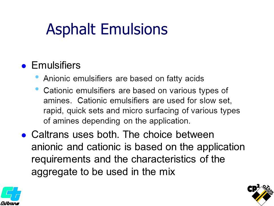 Asphalt Emulsions Emulsifiers