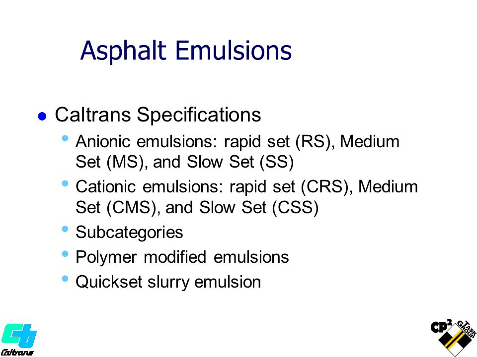 Asphalt Emulsions Caltrans Specifications