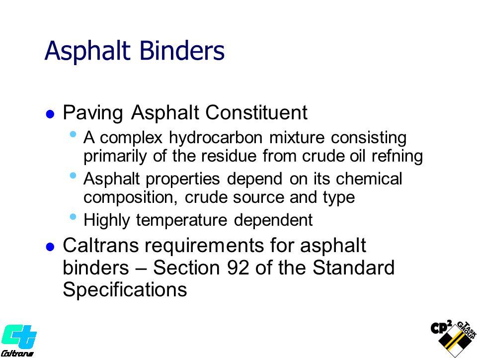 Asphalt Binders Paving Asphalt Constituent