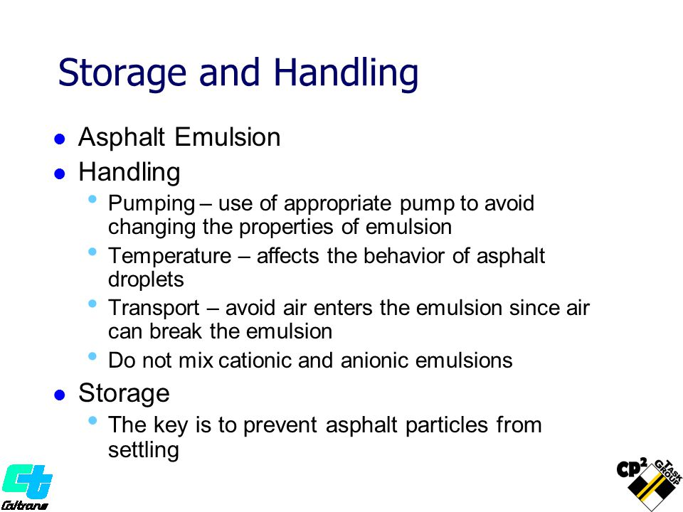 Storage and Handling Asphalt Emulsion Handling Storage