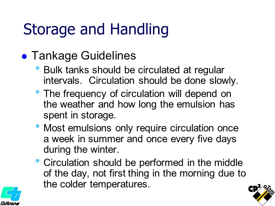 Storage and Handling Tankage Guidelines