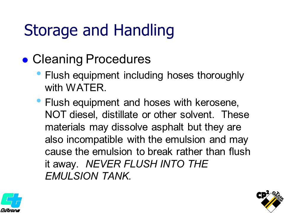 Storage and Handling Cleaning Procedures