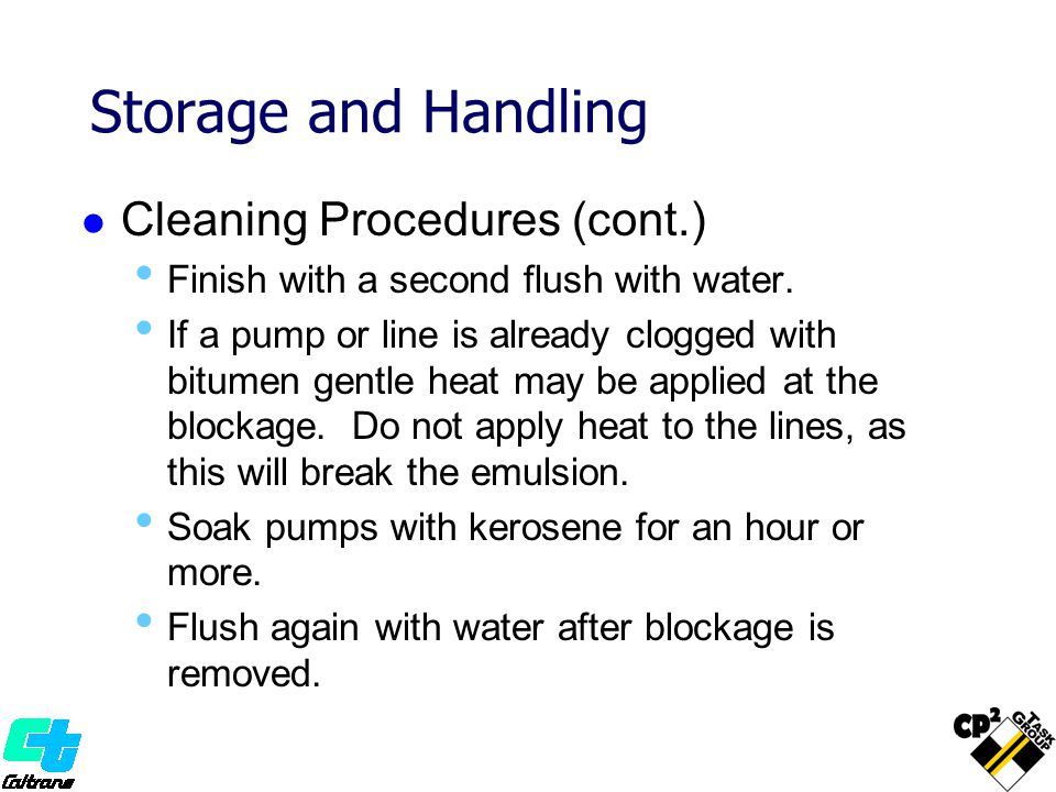 Storage and Handling Cleaning Procedures (cont.)