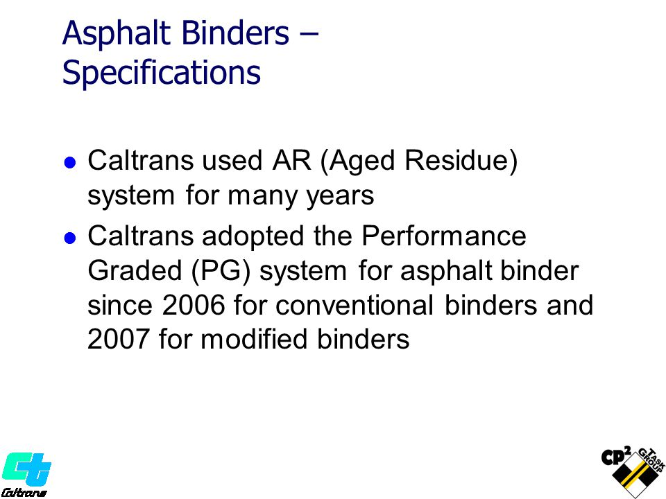 Asphalt Binders – Specifications