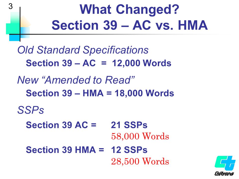 What Changed Section 39 – AC vs. HMA