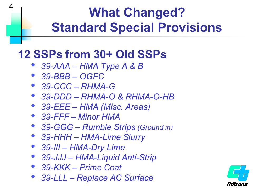 What Changed Standard Special Provisions