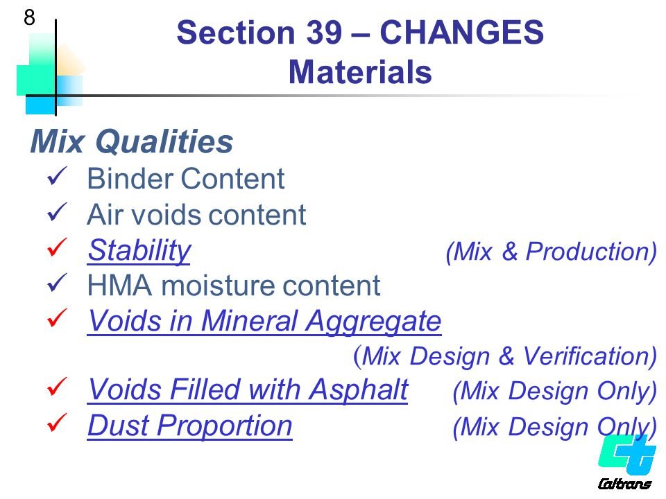 Section 39 – CHANGES Materials