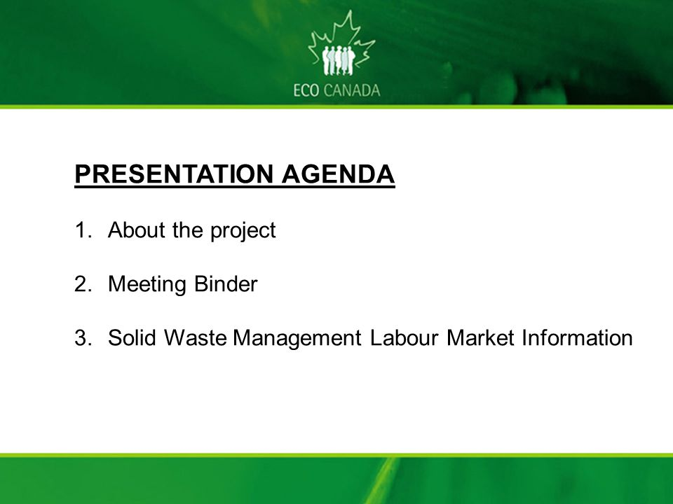 Solid Waste Management Labour Market Information