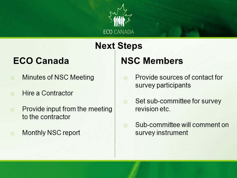 Next Steps ECO Canada NSC Members Minutes of NSC Meeting